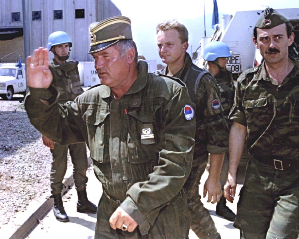General Radko Mladic then commander of the Bosnian Serb army arrives at Sarajevo's UN- controlled airport on Aug. 6, 1993.
