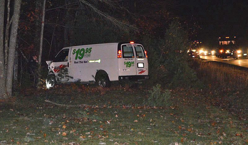 U-Haul van that came to rest in the woods Tuesday night.