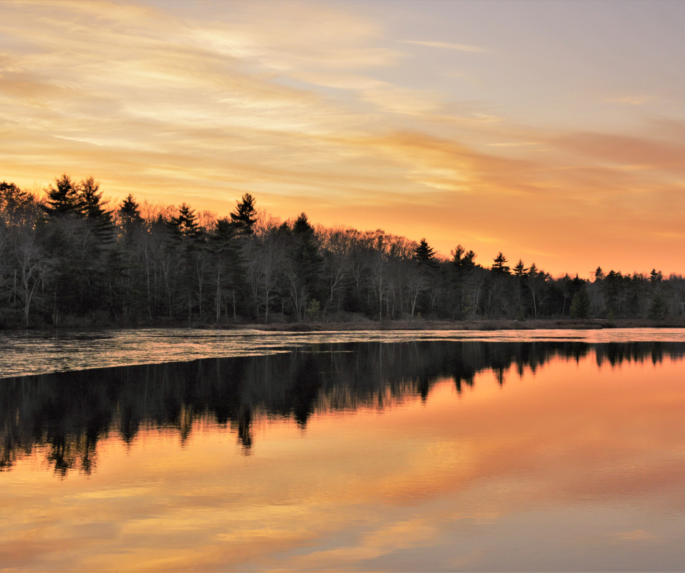 The ice is starting to form around the edges of this bog in New Gloucester, where Brian Lovering of New Gloucester got out to enjoy a beautiful fall sunset.