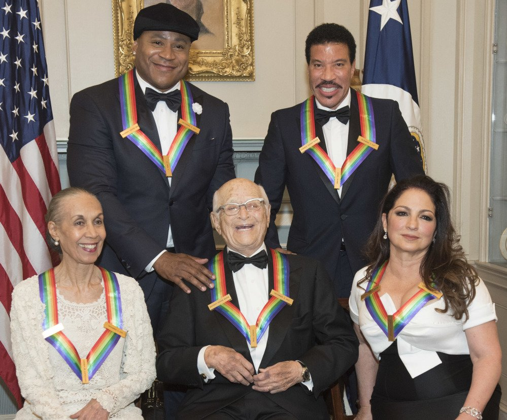 Kennedy Center honorees are, front from left, Carmen de Lavallade, Norman Lear and Gloria Estefan, and back from left, LL Cool J and Lionel Richie.
