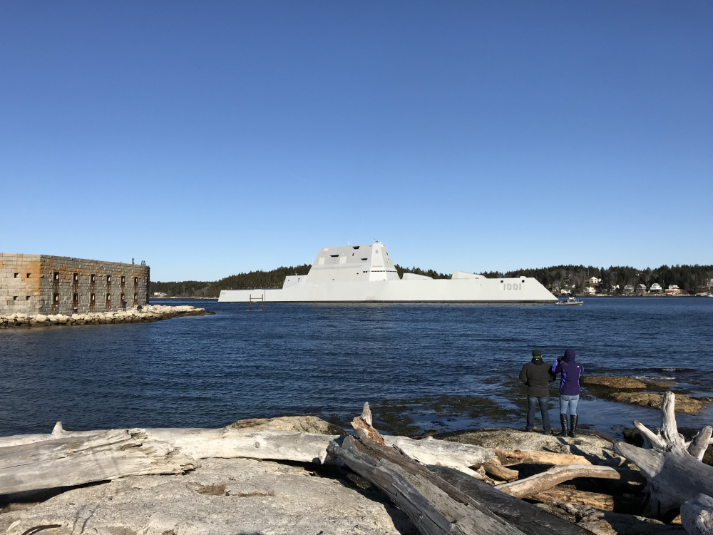 A new Zumwalt-class stealth destroyer built by Bath Iron Works takes a test run down the Kennebec River in 2017.