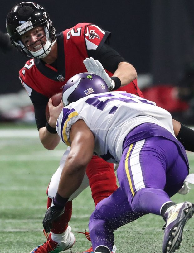 Anthony Barr an the Vikings' defense held Falcons quarterback Matt Ryan to a season-low 173 passing yards in a 14-9 win Sunday.