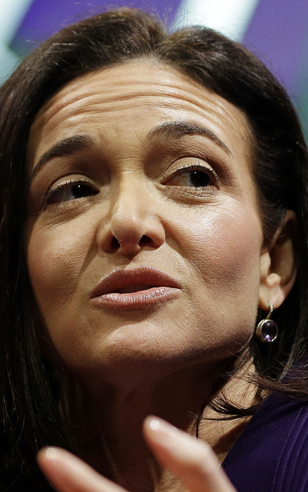 file photo, Facebook Chief Operating Officer Sheryl Sandberg speaks during a forum in San Francisco. Equal Pay Day is being held Tuesday, April 4, 2017, to highlight wage discrimination against women. Activists are holding rallies around the country. Sandberg, who is also the founder of the nonprofit Lean In, launched a new campaign Tuesday: #20PercentCounts, representing the 20 percent less that women make compared with men. Companies big and small are offering discounts, rebates or donating money to women's organizations. (AP Photo/Eric Risberg, File)