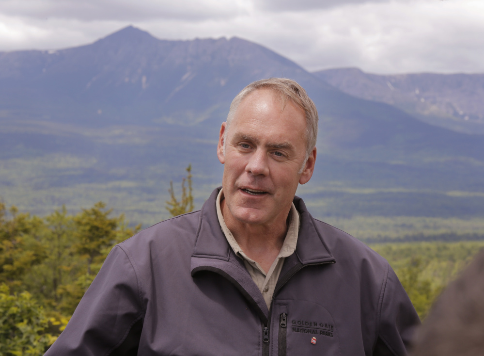"Interior Secretary Ryan Zinke, who toured the Katahdin Woods & Waters National Monument in June, ended speculation Tuesday that his recommendation of ""active timber management"" would mean commercial harvesting on the land. But he left open the possibility of ""landscape improvements."""