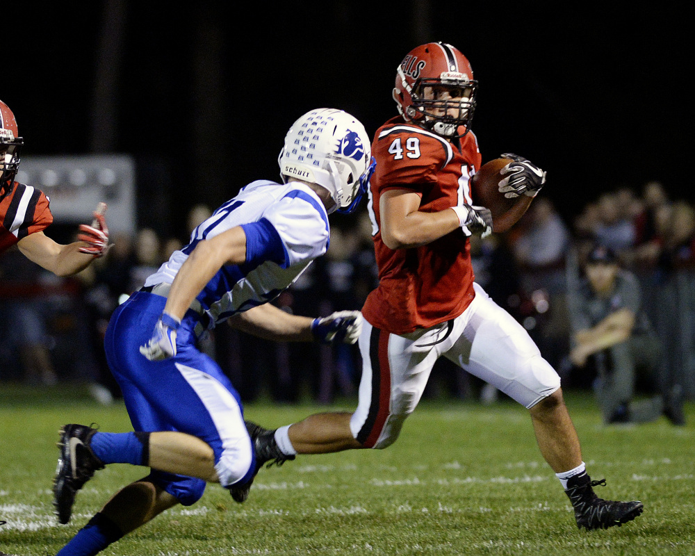 Nolan Potter, a two-way standout for Wells who rushed for 1,550 yards and 28 touchdowns this season, is one of 12 semifinalists for the Fitzpatrick Trophy as the state's top senior player.