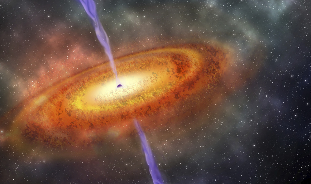 This illustration provided by the Carnegie Institution for Science shows the most-distant supermassive black hole ever discovered.