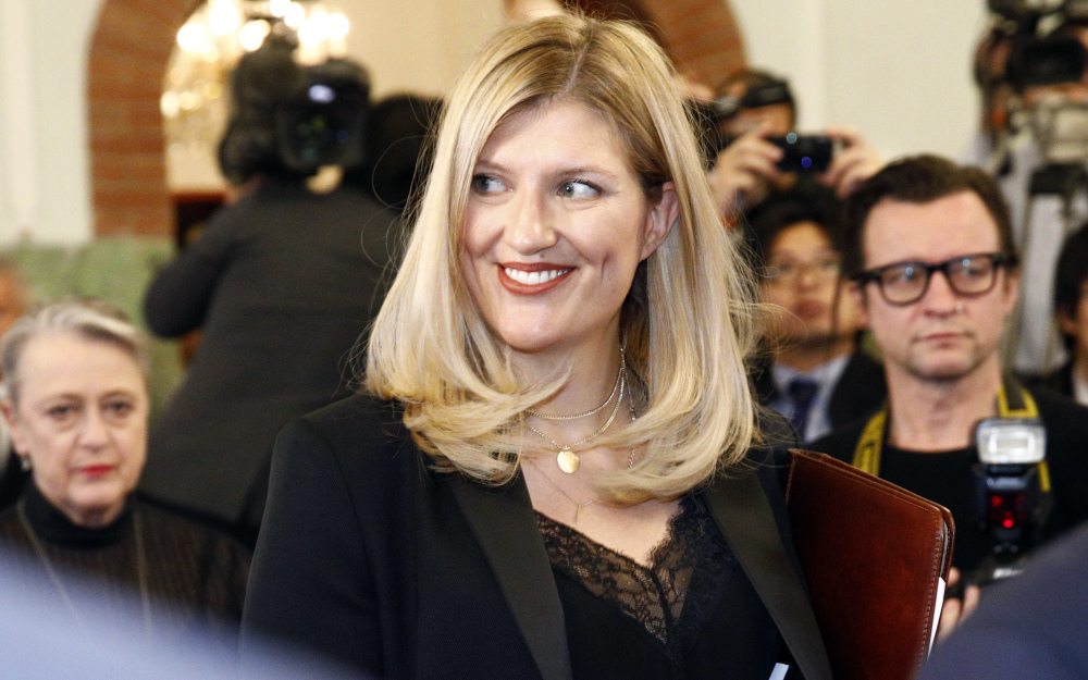 Beatrice Fihn, executive director of the ICAN, arrives for a news conference at the Norwegian Nobel Committee, in Oslo, Norway, on Saturday.