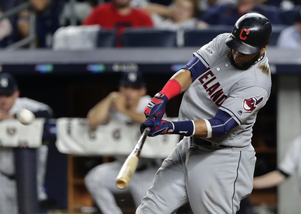 First baseman Carlos Santana is a player the Boston Red Sox are targeting this offseason. Santana hit .259 with 23 home runs and 37 doubles for the Indians last season.