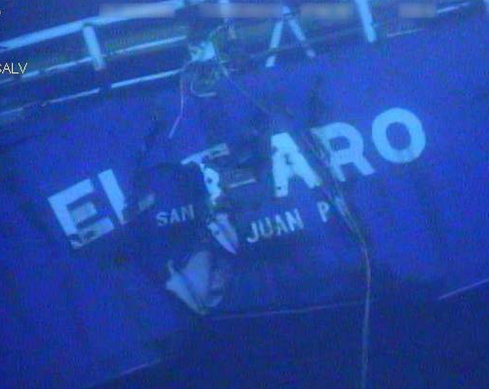 An undated image made from a video shows the stern of the sunken ship El Faro off the Bahamas.