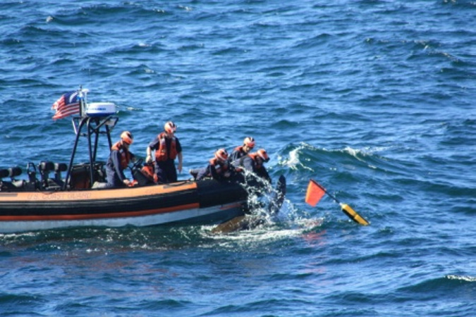 A crew deployed from the Coast Guard Cutter Campbell untangles a 6-foot-long leatherback turtle from fishing line 15 miles off Cape Elizabeth in September 2015. After cutting the line, the crew watched as the turtle swam away to the open sea. Regulators are considering whether to classify the turtles as an endangered species.