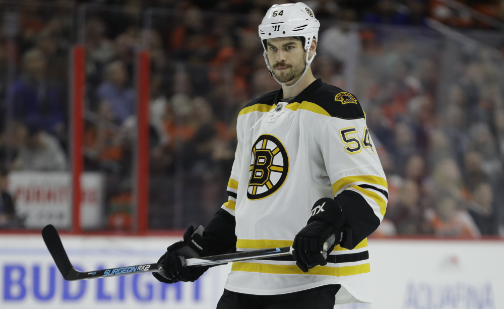 Defenseman Adam McQuaid hasn't played since Oct. 19 because of a broken leg, but he finally returned to practice with the Bruins on Monday. There's still some question about where he fits into the lineup when he's ready to go.
