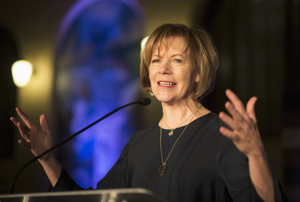 Minnesota Democratic Lt. Gov. Tina Smith, shown in 2015, has been appointed to replace Al Franken in the U.S. Senate.