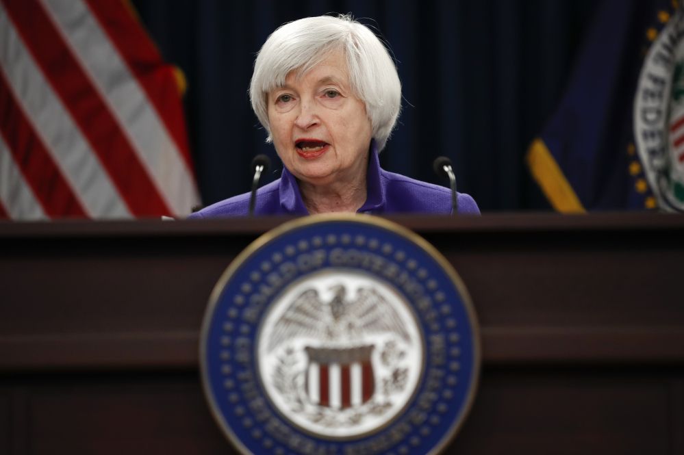 Federal Reserve Chair Janet Yellen speaks during a news conference following the Federal Open Market Committee meeting in Washington, Wednesday.