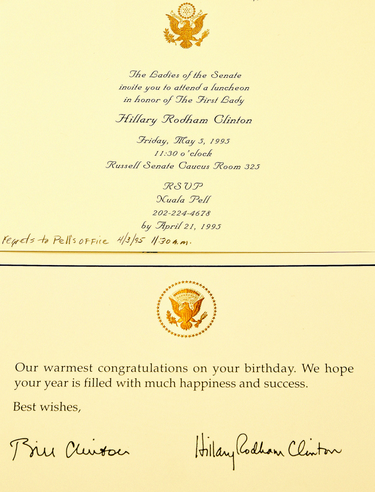 Margaret chase smith library showcases cards from us leaders and a birthday card bottom signed by former president bill clinton and first lady hillary rodham clinton and an invitation to a luncheon for mrs clinton are bookmarktalkfo Choice Image