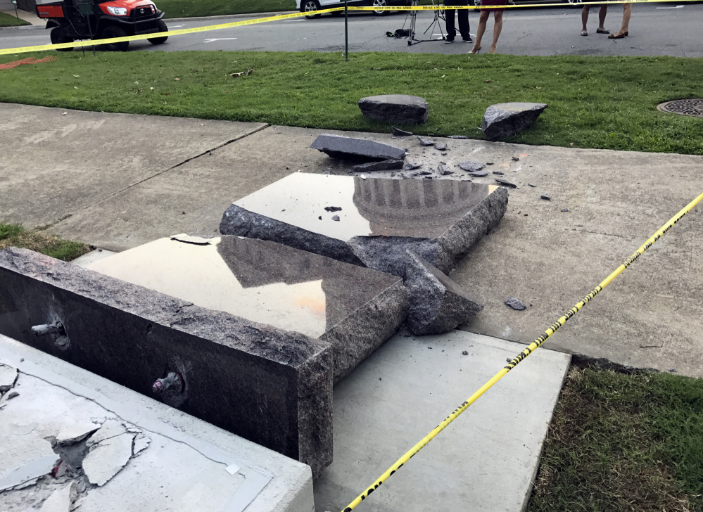 A Ten Commandments monument outside the state Capitol in Little Rock, Ark., lies in pieces after a man drove a car into it. He has been found mentally unfit for trial.