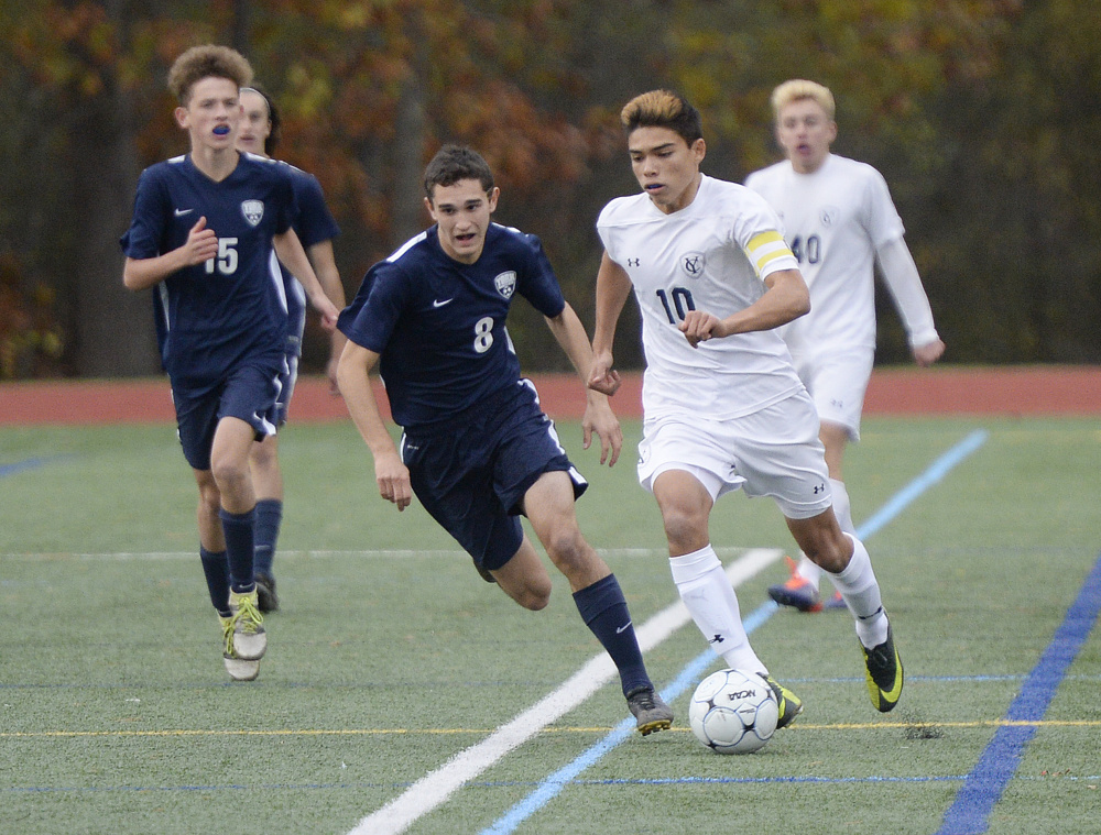 Luke Groothoff of Yarmouth could have been the team's leading scorer, says his coach, but instead controlled the game from the middle of the field. Groothoff is heading to Messiah College, which won its 11th Division III national title this fall.