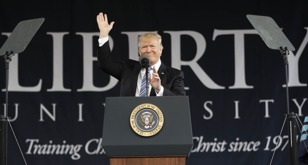 President Trump gives the commencement address for the Class of 2017 at Liberty University in Lynchburg, Va., last May. Conservative religious groups have been pushing Republicans to ease rules barring churches from engaging in politics.