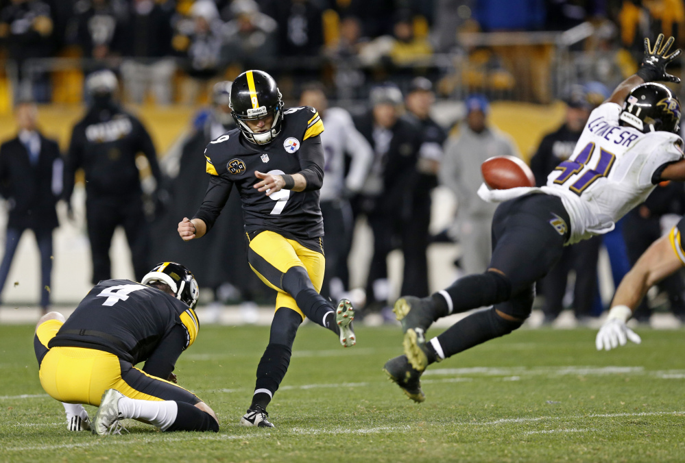 Pittsburgh's Chris Boswell has made 90 percent of his kicks at notoriously challenging Heinz Field, including this 46-yard winner in the final minute against Baltimore last Sunday.