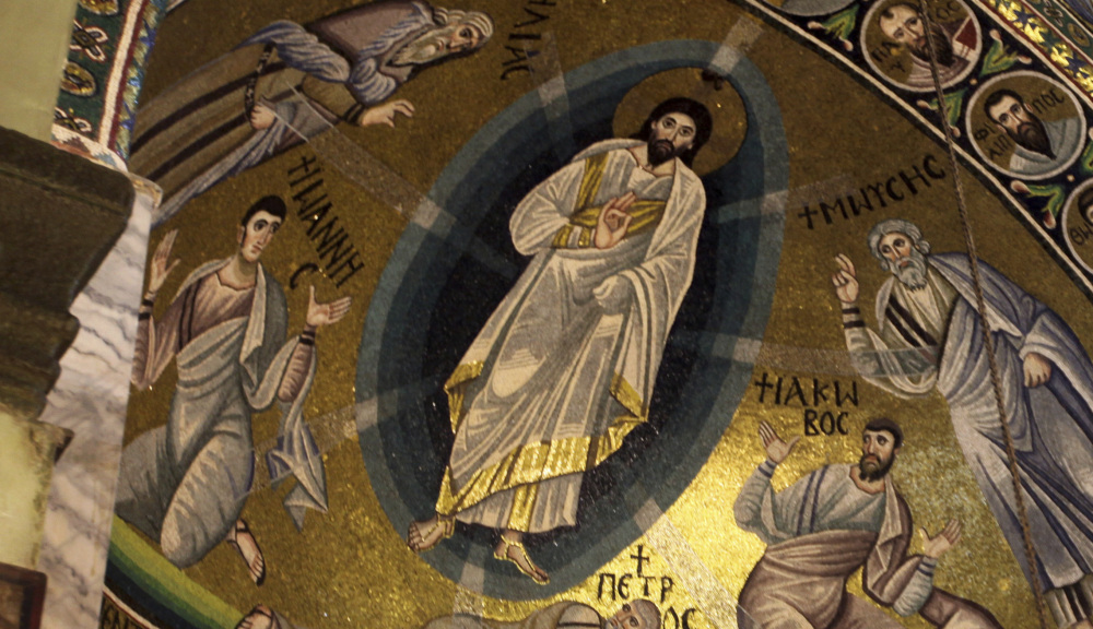 The Mosaic of Transfiguration, which covers 46 square meters inside the basilica of the monastery of St. Catherine, is shown in South Sinai, Egypt. The library holds the world's second-largest collection of codices and manuscripts and has reopened after three years of restoration work.