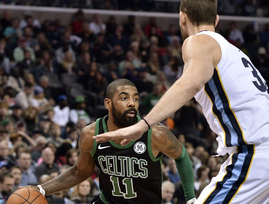 Kyrie Irving scored 20 points and Boston was finally able to slow down Marc Gasol, right, in a 102-93 win over the Grizzlies on Saturday in Memphis, Tennessee.