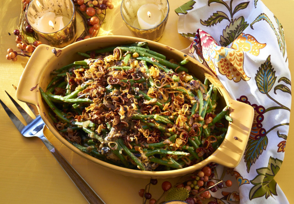 The green beans in this casserole get a boost from a medley of sauteed fresh mushrooms, broth and half-and-half.