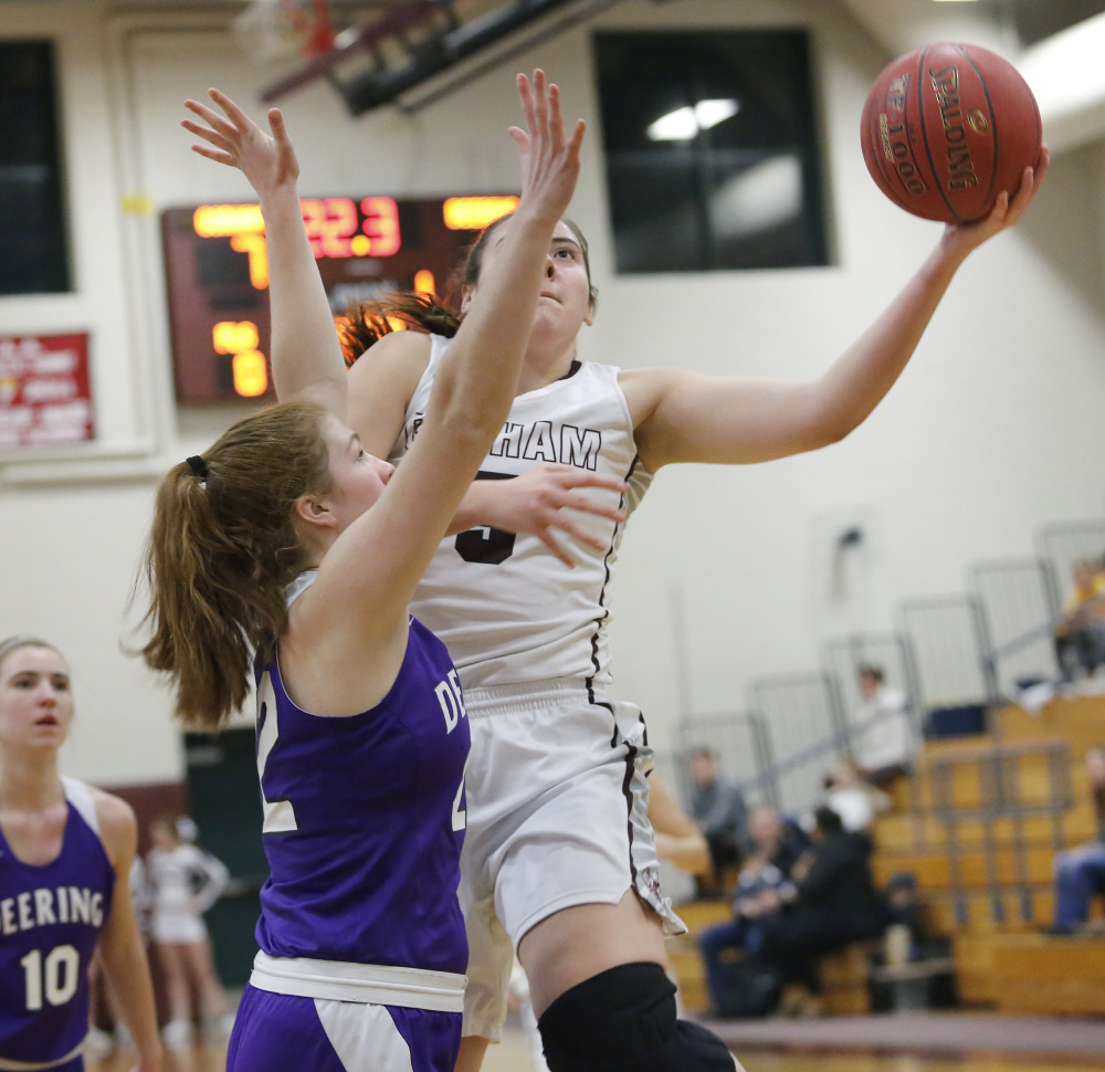 """gorham girls While gorham may be a small town, it seems mackenzie holmes, junior and leader on the gorham rams girls basketball team, is no """"small town."""