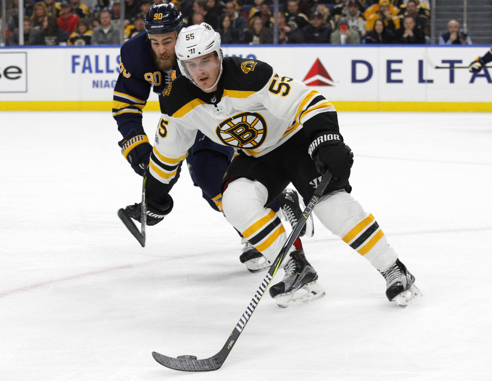 Boston Bruins forward Noel Acciari (55) skates with the puck during the first period of Tuesday's game against the Buffalo Sabres in Buffalo, N.Y. Associated Press/Jeffrey T. Barne)