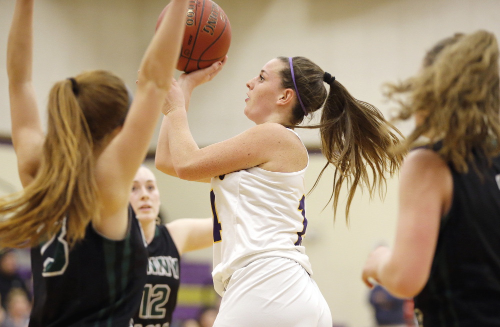 Abby Cavallaro, who finished with 14 points Tuesday night for Cheverus, finds room to shoot during a 47-44 victory against Bonny Eagle at Cheverus High.