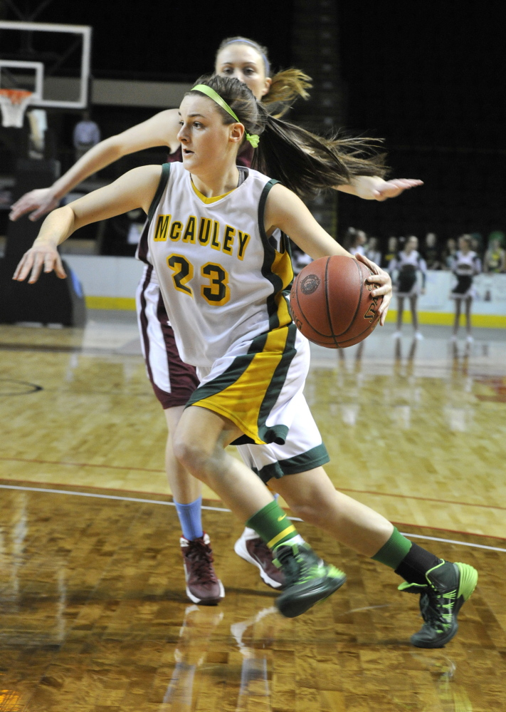Allie Clement twice was named the Maine Sunday Telegram's Player of the Year in girls' basketball while playing for McAuley High (now Maine Girls' Academy). (Photo by John Ewing/Staff Photographer)