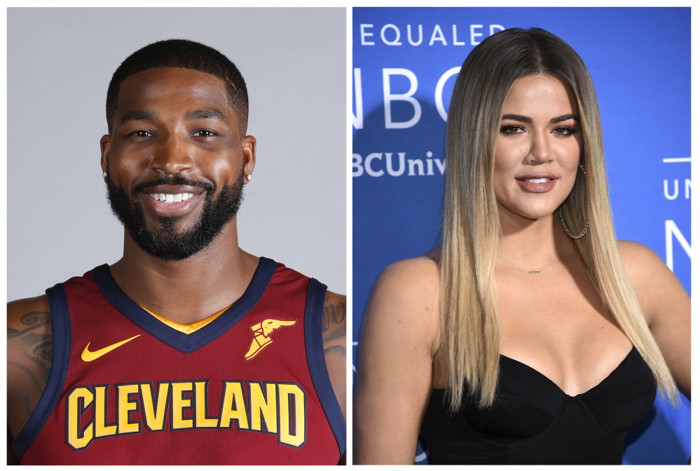 Combination photo shows television personality Khloe Kardashian and Cleveland Cavaliers' Tristan Thompson. Kardashian confirmed Wednesday on Instagram that she is expecting her first child with boyfriend Thompson.