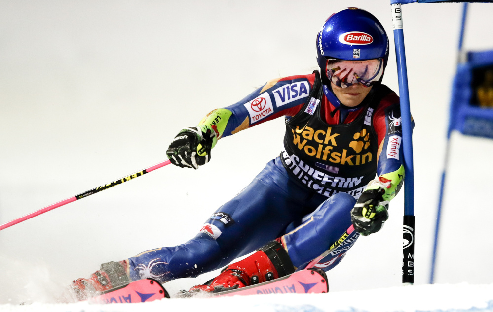 U.S. skier Mikaela Shiffrin competes during a parallel slalom event in Courchevel, France, on Wednesday. Shiffrin won the race, which was making its World Cup debut.