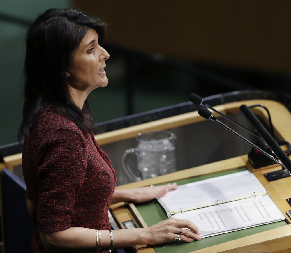 U.S. Ambassador to the United Nations Nikki Haley speaks before the U.N. General Assembly at United Nations headquarters Thursday. Associated Press/Mark Lennihan