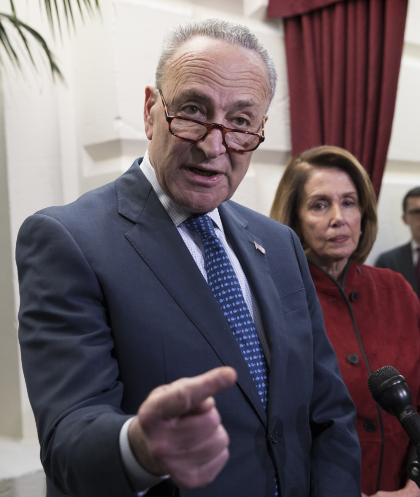 "Senate Minority Leader Chuck Schumer, D-N.Y., seen speaking Dec. 13, said Democrats ""are not going to allow things like disaster relief go forward without discussing some of the other issues we care about."""