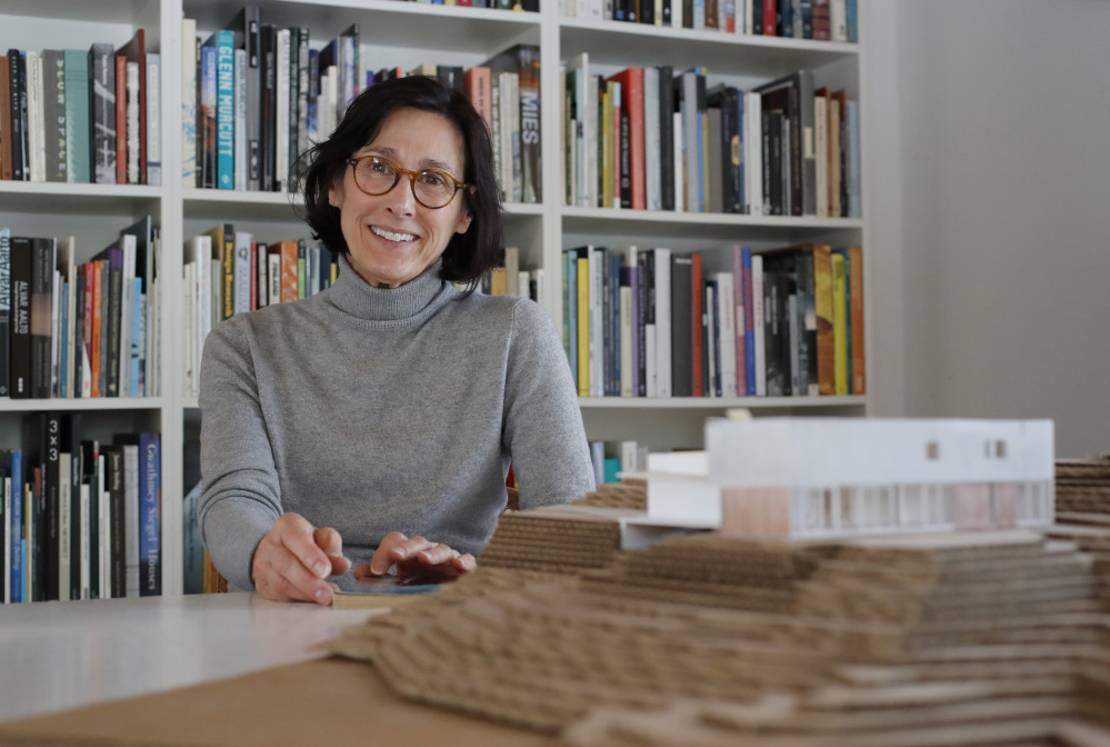 Architect Carol Wilson in her office in Falmouth.