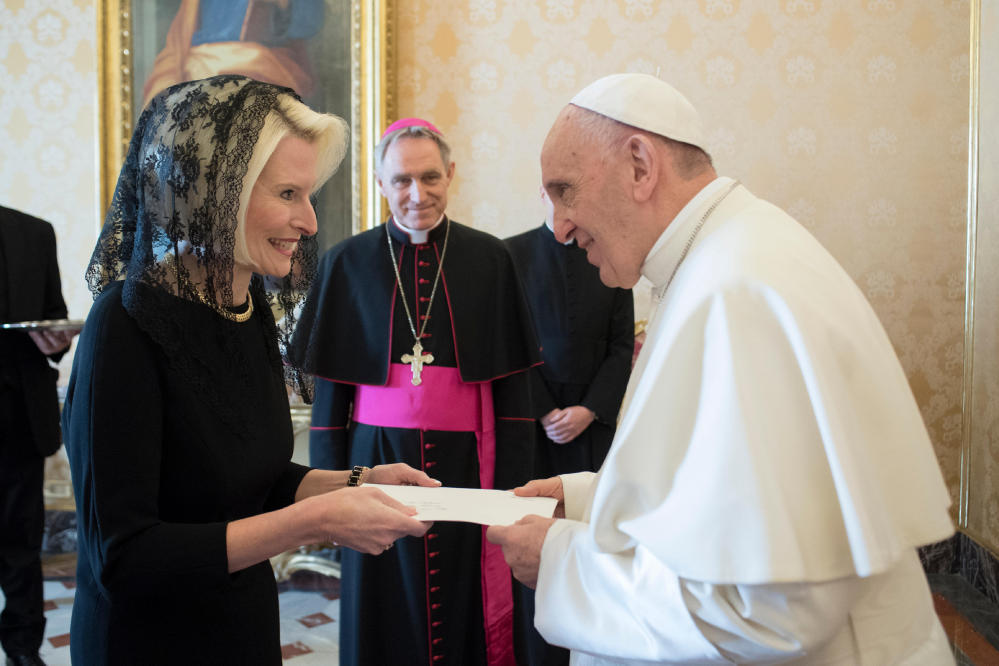 THE NEW AMBASSADOR Callista Gingrich, the U.S. ambassador to the Holy See, presents her credentials to Pope Francis during a private audience at the Vatican on Friday. President Trump's nomination of Gingrich to the post caused some controversy because of her marriage to former U.S. Rep. Newt Gingrich, with whom she became involved when he was still married to his second wife.