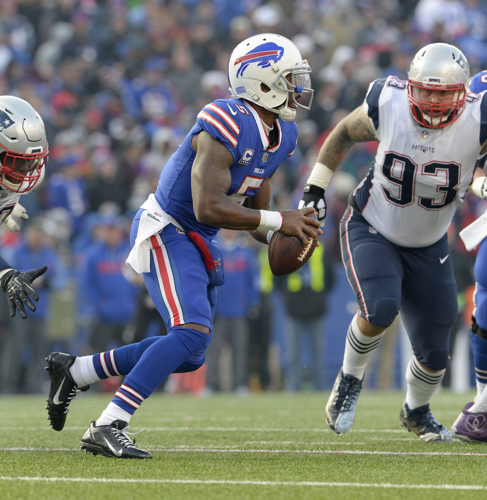 Tyrod Taylor was knocked out of the game with an injury when the Bills faced the Patriots three weeks ago, but he'll be directing the offense again Sunday in a game critical to Buffalo's playoff chances.