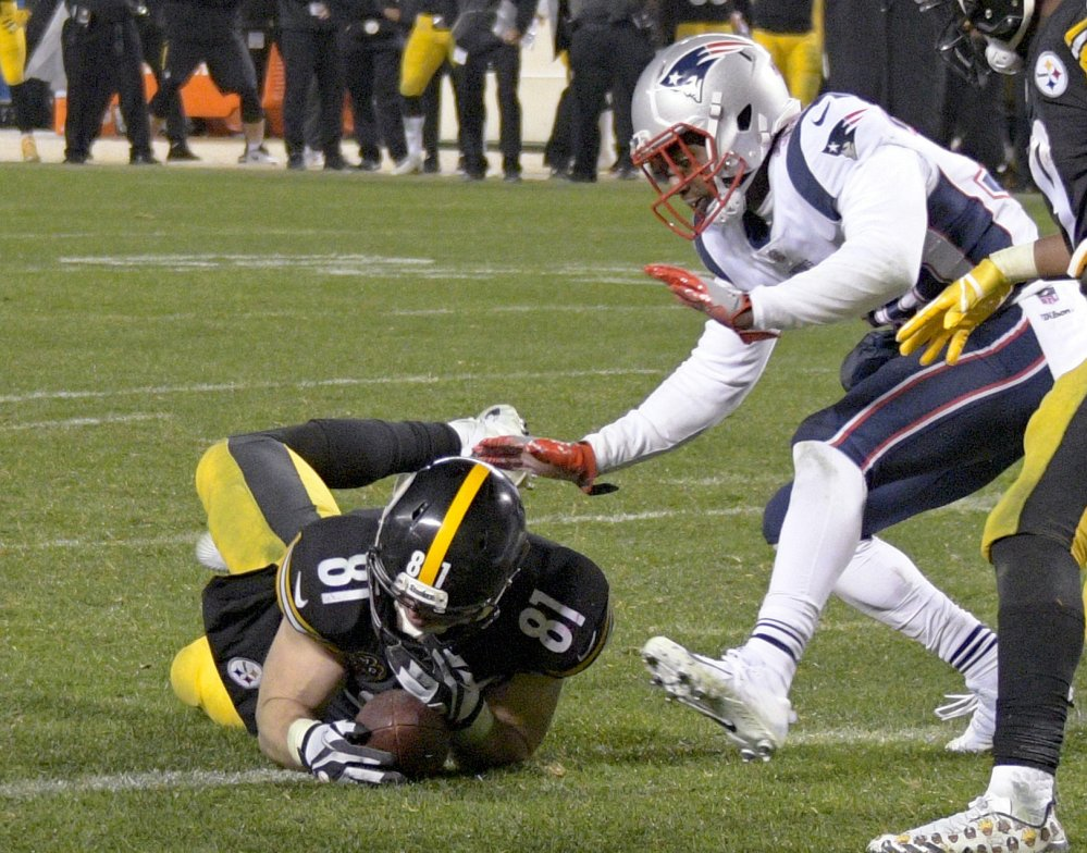 Steelers tight end Jesse James thought he had scored the winning TD on Sunday against the Patriots, but the play was ruled an incomplete pass.
