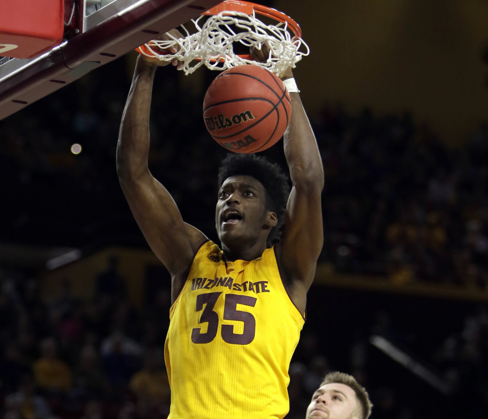 De'Quon Lake of third-ranked Arizona State breaks behind the defense for a dunk Friday on the way to a 104-65 victory at home against Pacific. The Sun Devils improved to 12-0.