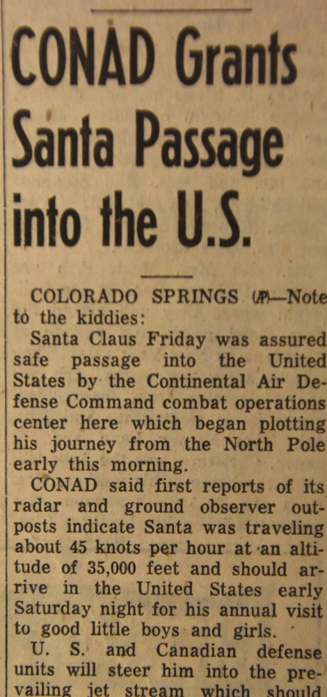 An Associated Press story from The Greeley Tribune in Greeley, Colo., from Dec. 23, 1955, describes the Continental Air Defense Command's Santa tracking the year it began.