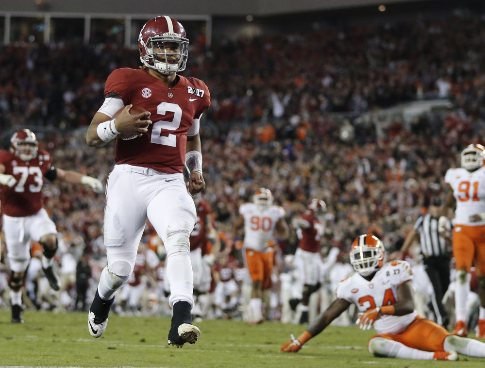 "Quarterback Jalen Hurts scored a touchdown for Alabama in the national championship game against Clemson last January. Now Hurts merely says of this year's playoff rematch, ""They're the national champions, we're not. So …"""