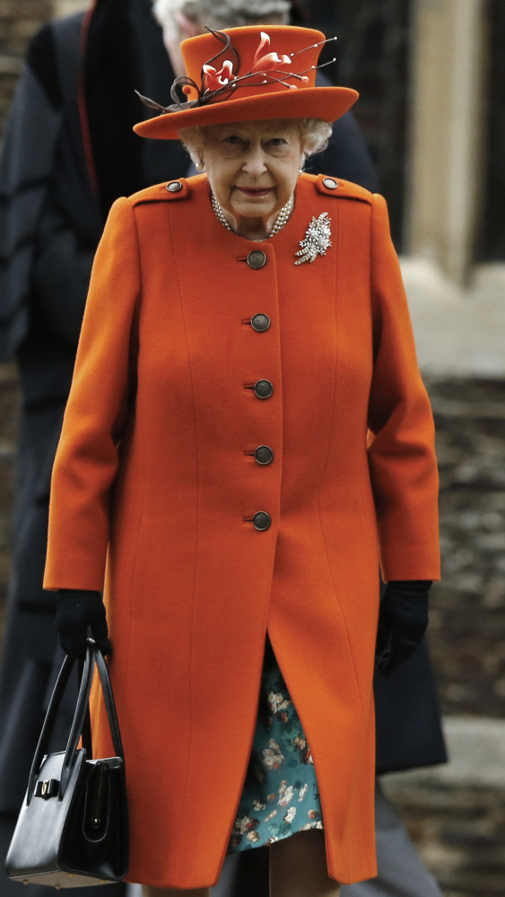 Queen Elizabeth II leaves the Christmas service at St. Mary Magdalene Church in Sandringham, England.
