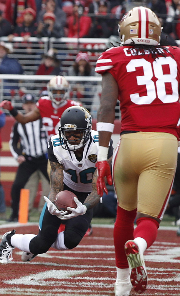 Jaelen Strong had a first-half touchdown reception for Jacksonville in the first half Sunday, then tore a knee ligament in the second half.