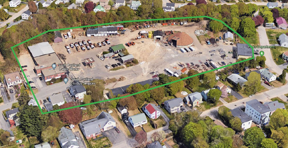 South Portland's former public works complex on O'Neil Street is outlined in green. A reuse planning committee spent 10 months studying options for the 6-acre site.