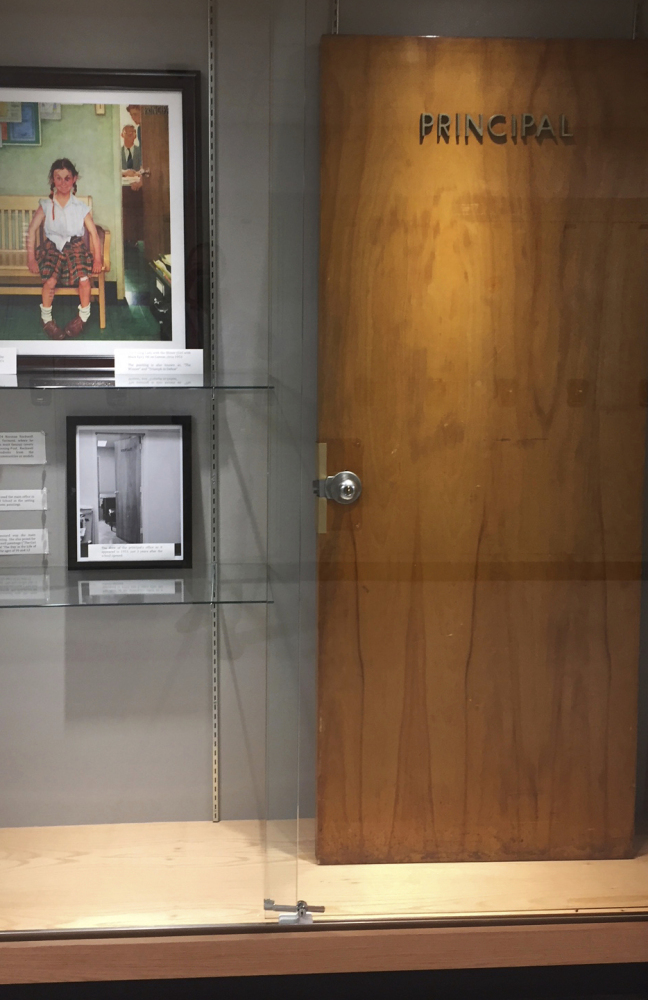 A door that served as a model for a Norman Rockwell painting and was once on the principal's office is on display at Cambridge Central Schools in New York.