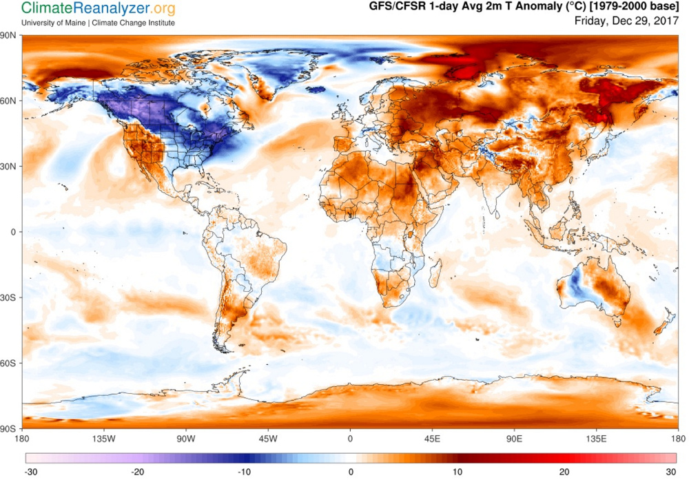 A map of global surface temperature anomalies (the differences between current temperatures and historical average temperatures) for Friday, Dec. 29, 2017. In spite of record-breaking cold in northern New England and the midwest, the globe as a whole remains warmer than the historical average temperature from the period between 1979 and 2000.