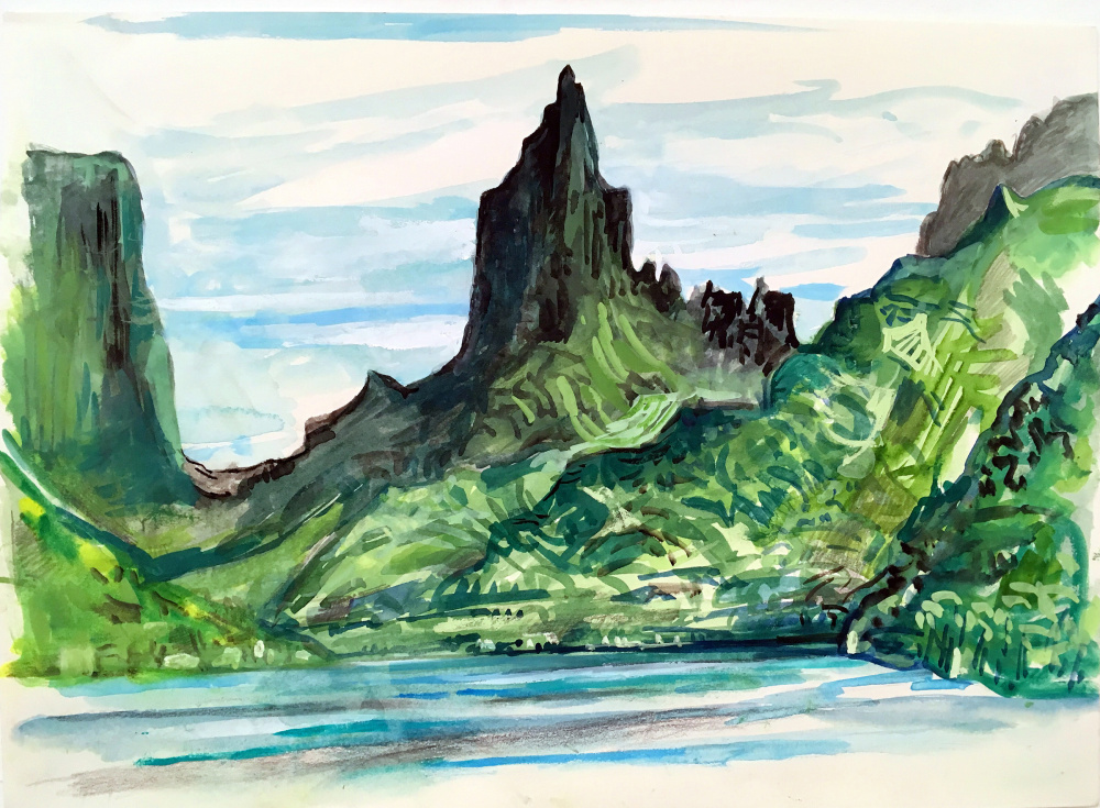 """Moorea"" by Alan Fishman. Below left, Alan Fishman paints on site in France. Right, Marcie Bronstein leads a watercolor class with a gorup of students during a recent cruise."