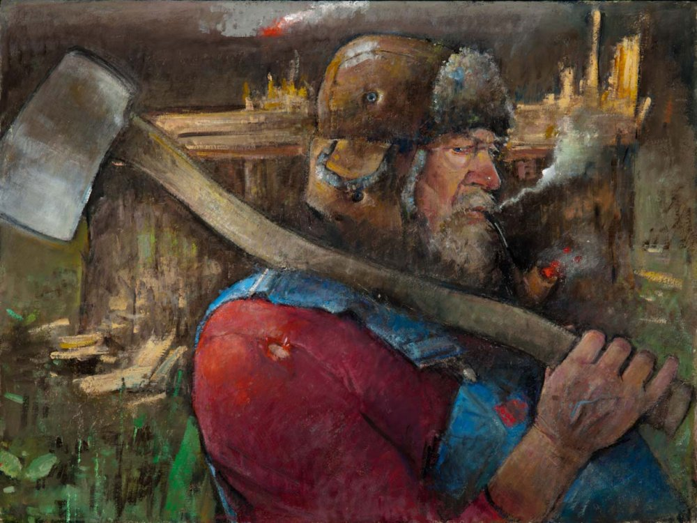 """The Axeman,"" by Nancy Morgan Barnes, oil on board, 18"" x 32"""