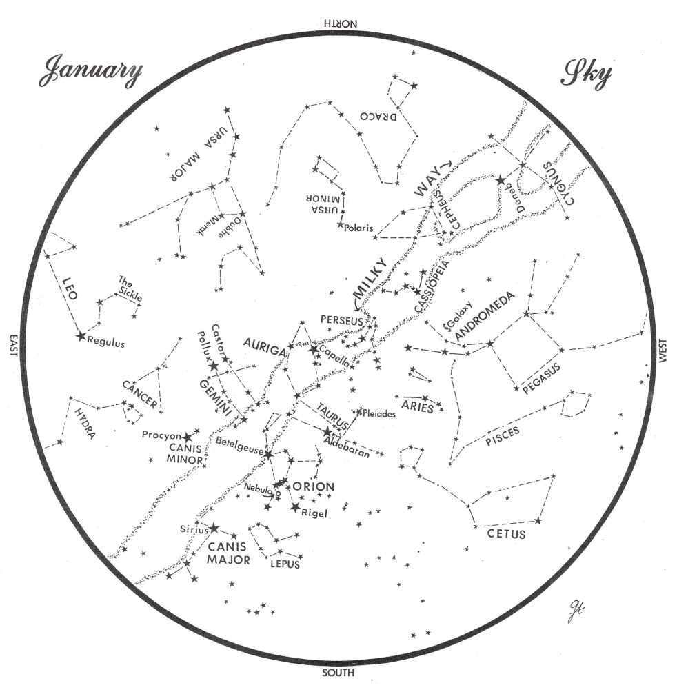 Sky chart prepared by George Ayers   SKY GUIDE:  This chart represents the sky as it appears over Maine during January.  The stars are shown as they appear at 9:30 p.m. early in the month, at 8:30 p.m. at midmonth and at 7:30 at month's end.  No planets are visible at chart times. To use the map, hold it vertically and turn it so that the direction you are facing is at the bottom.