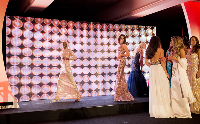 Hamdia Ahmed Far Left Smiles At Her Family Off Stage After The First Night Of Miss Maine Usa Pageant Mother Sister And Four Nieces Came Both