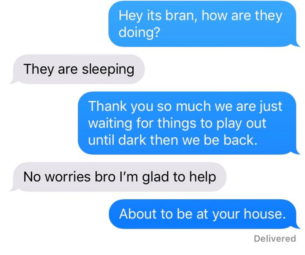 Text messages that Brandon Ross allegedly exchanged with a friend the day two dangerous dogs belonging to his girlfriend, Danielle Jones, were allegedly hidden away in secret.
